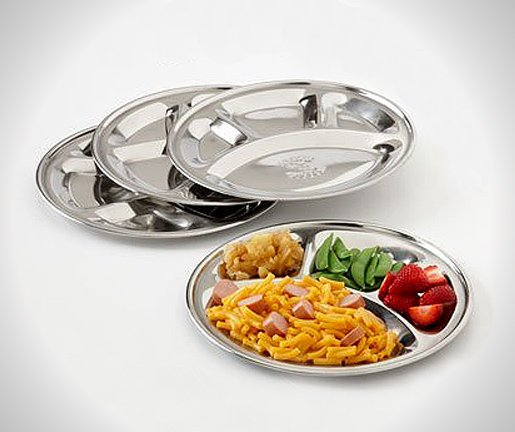 Stainless Steel Divided Plate Set of 4 Mess Trays