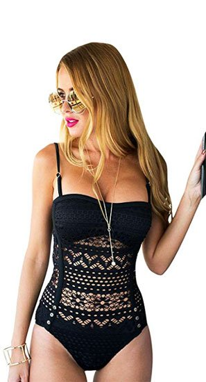 Lookbook Store Womens Crochet Lace Halter Straps Swimsuits