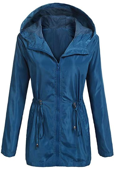 UNibelle Womens Lightweight Waterproof Rain Jacket Active Outdoor Hooded Raincoat Windbreaker